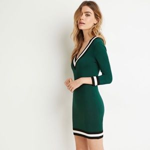 Varsity stripe bodycon sweater dress